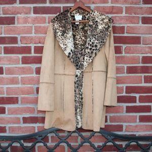Jackets & Blazers - lightweight Faux Suede Leopard Lined Jacket